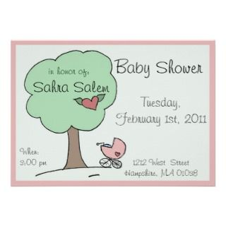 Rose buggy under tree   baby shower invitation