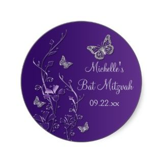 Purple Silver Floral with Butterflies 1.5 Sticker