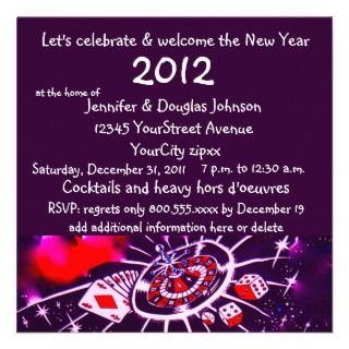 Casino Theme New Yeas Eve hors doeuvres party Custom Invitations