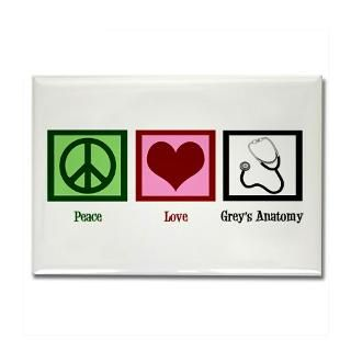 Peace Love Greys Anatomy Rectangle Magnet