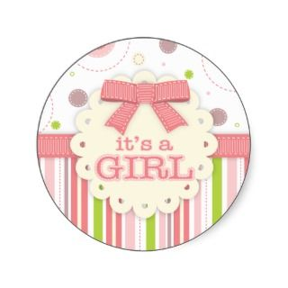 Its a Girl Pinks & Green Stitches Baby Shower Round Stickers