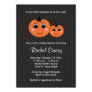 Halloween Little Pumpkin Baby Shower Invitations