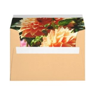 Orange Envelopes Invitation Cards Dahlia Flowers Custom Color