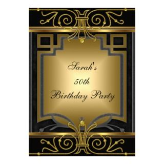 Party Gold Black Art Deco Personalized Invitations