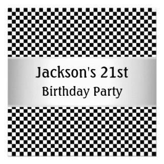 Light Silver Black & White Check Party Personalized Announcement