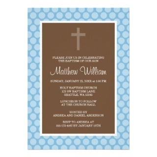 Blue Brown Polka Dot Cross Boy Baptism Christening Announcement