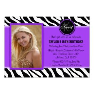 Chic Purple and Black Zebra Print Photo Invite