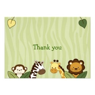 Safari Friends Jungle Animal Thank You Note Cards Personalized Invite