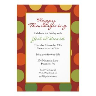 Thanksgiving Dinner Party Invitations