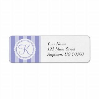 Candy Striper Monogram Address Labels (Purple)