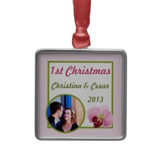 Personalized Custom Pink Orchid Long Stem Flower G Christmas Tree