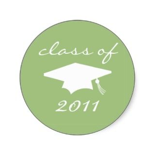 Class Of 2011 Label (Sage Green Graduation Cap) Round Sticker