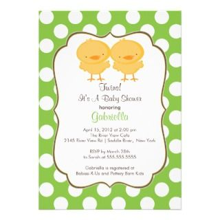 Twins Chick Baby Shower Invitation Green Girl Boy
