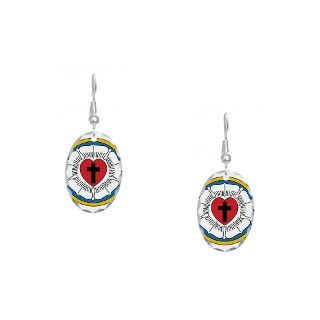 Christian Gifts  Christian Jewelry  Luthers Rose Earring Oval Charm