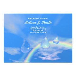 Drops for Boy Baby Shower Personalized Invitation
