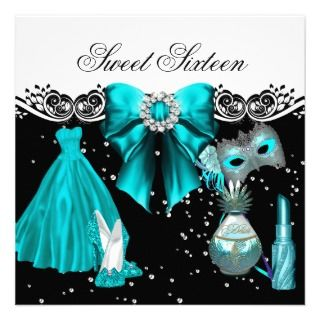 Masked Teal Blue Sweet Sixteen Sweet 16 Party Announcements