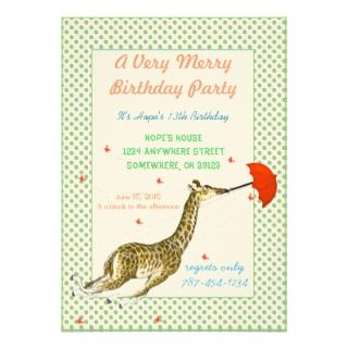 Giraffe Butterfly Birthday Party Invitation
