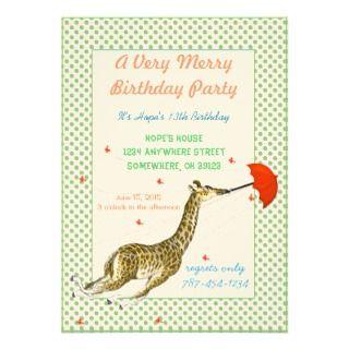 Giraffe Butterfly Birthday Party Invitation