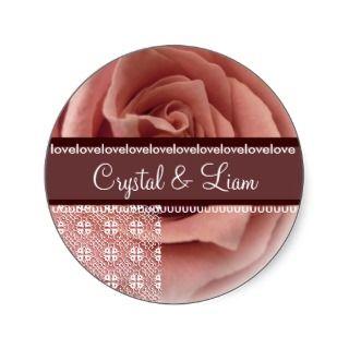 PEACH Rose Wedding Chocolate Lace Envelope Sticker