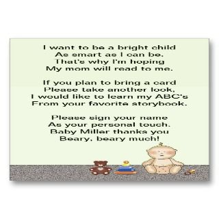 Baby Carriage Tot Book Poem Business Cards