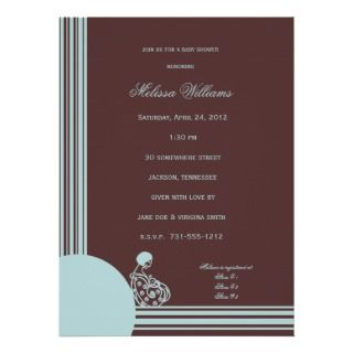 Light Blue on Brown Baby Shower Invitations