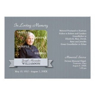 Charcoal Pinstripe Banner Memorial Notice Announcements