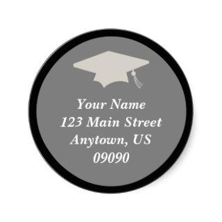 Classic Graduation Address Label (Black) Round Sticker
