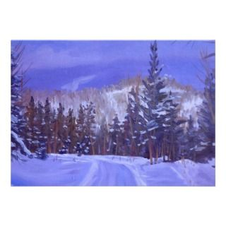 Winter Splendor Oil Landscape Painting Personalized Announcement