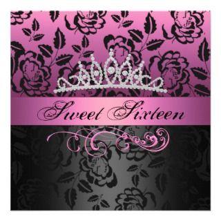 Pink Sweet 16 Princess Tiara Birthday Invitation
