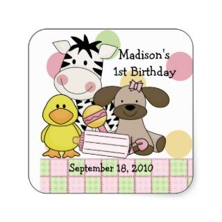 Baby Animals Baby Shower Square Sticker
