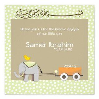 Islamic Aqiqah baby invitation announcement muslim