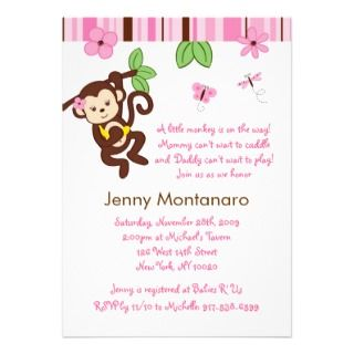 Baby Images Girl on Girl Monkey Jungle Baby Shower Favor Gift Tags Business Card Template