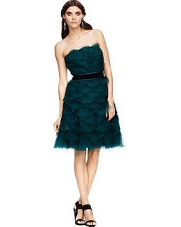 Tadashi Shoji Fan Pleated Strapless Dress