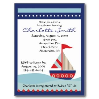 Navy Blue Sail Boat Baby Shower Invitation Post Cards