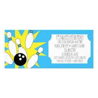 Azure Blue Rolling Good Time Bowling Party Personalized Announcements