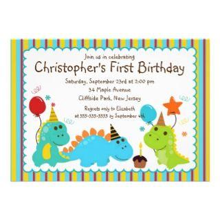 Dinosaur Birthday Party On Cute Baby Invitation