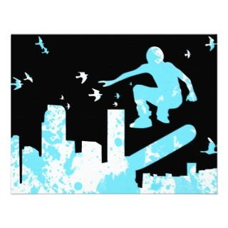 skateboard with birds  cityscape custom invitations