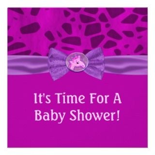 Pink & Purple Giraffe Baby Shower Personalized Announcements