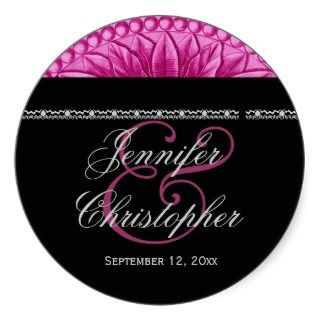 Pink Silver Black Wedding Flower Label Round Sticker