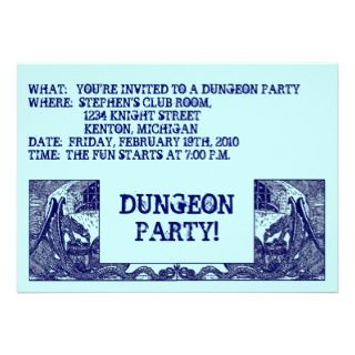 NAVY BLUE DRAGONS IN DUNGEONS ~ PARTY INVITATION