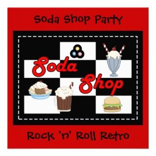 Invitation Rock n Roll Retro Soda Shop Party