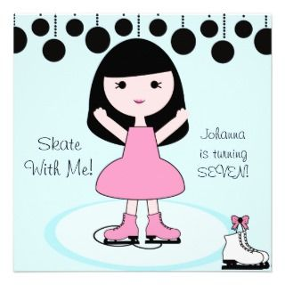 Black Hair Girl Ice Skating Party Invitations