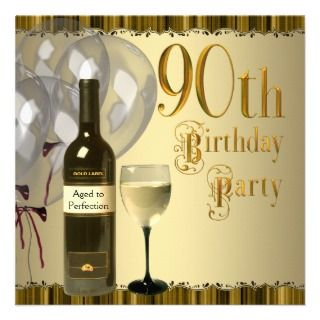 Bottle Gold 90th Birthday Party Custom Invitation