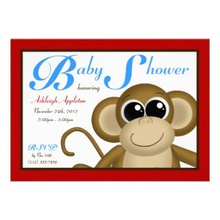 Cute Monkey Red & Blue Baby Shower Invitations