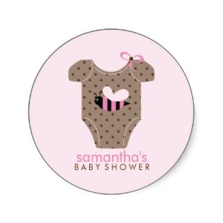 Bee Outfit Girl Baby Shower Round Sticker