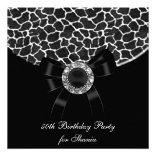 Party Black White Giraffe Jewel Custom Invitation