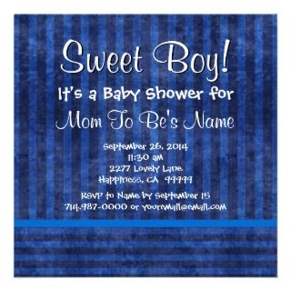 Fun Blue Stripes Boy Baby Shower B662 Personalized Announcements