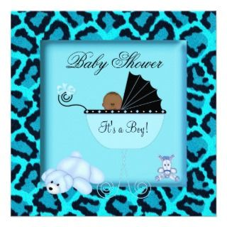 African American Baby Shower Boy Animal Print Personalized