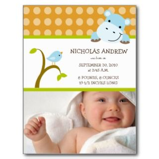Hippo and Birdie Baby Boy Birth Announcement Post Cards