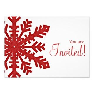 Red Snowflake New Year/Dinner Party Invitation